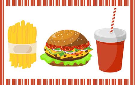 sesame street: Set of fast food Illustration