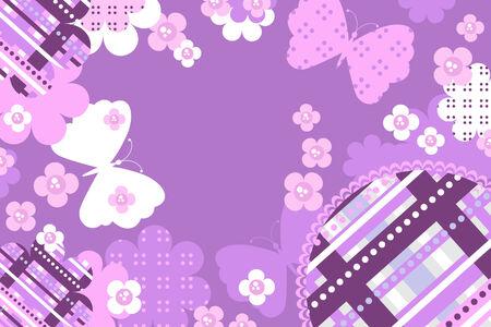 Tarjeta de invitación con flores y mariposas  Foto de archivo - 7973015
