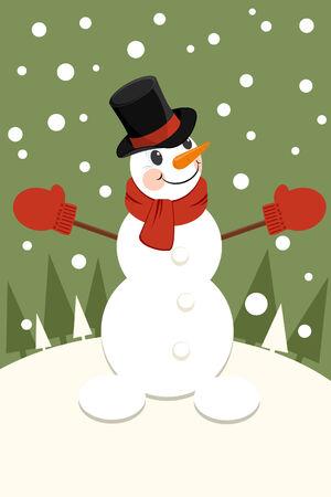 showman: Christmas invitation card with a snowman
