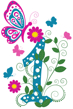digit: Funny digit 1 with flowers and butterflies