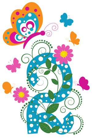 Funny digit 2 with flowers and butterflies Stock Vector - 7973000