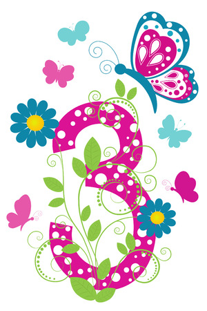 digit 3: Funny digit 3 with flowers and butterflies