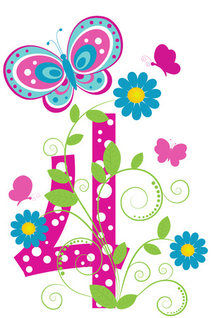 funny: Funny digit 4 with flowers and butterflies