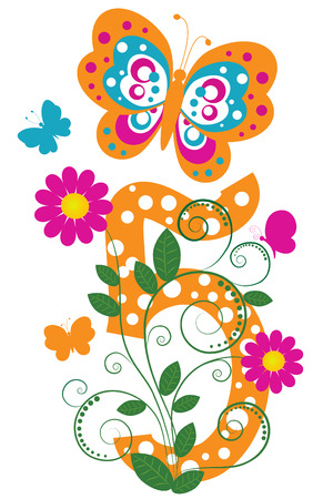 digit: Funny digit 5 with flowers and butterflies Illustration