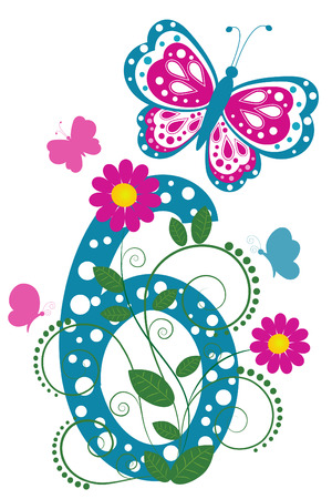 Funny digit 6 with flowers and butterflies Stock Vector - 7973002