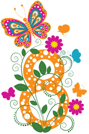 Funny digit 8 with flowers and butterflies Stock Vector - 7973013
