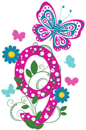 Funny digit 9 with flowers and butterflies
