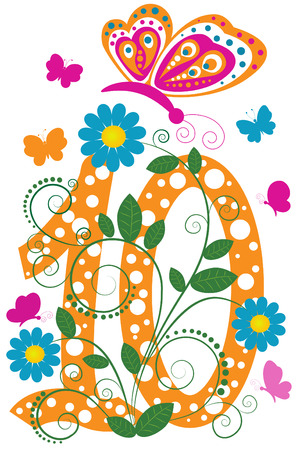Funny digit 10 with flowers and butterflies Vector