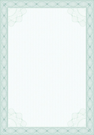 diploma border: Guilloche style form for diploma or certificate Illustration