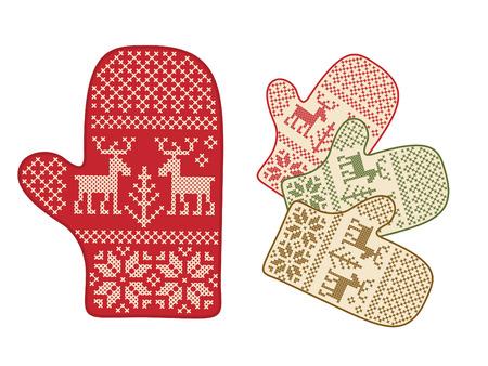 the mittens: Folk estilo mitones venado ornamento.