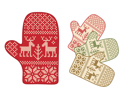 mittens: Folk style mittens with deer ornament. Illustration