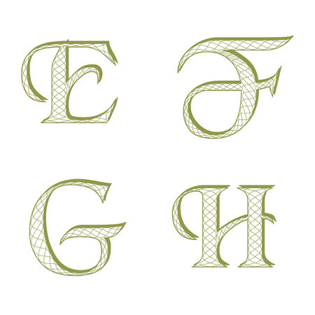 Guilloche style font for diploma, currency or certificate Vector