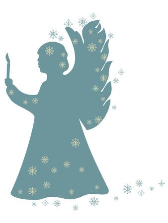 Angelo di Natale con una candela