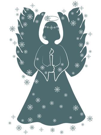 silueta de angel: Angel de la Navidad con una vela
