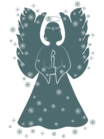 aureole: Christmas angel with a candle Illustration