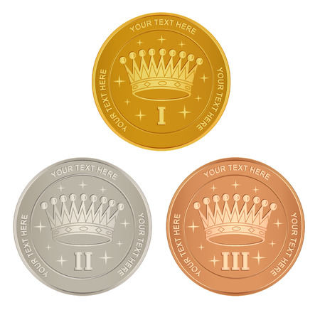 gold seal: Set of gold, silver and bronze awards with a crown Illustration