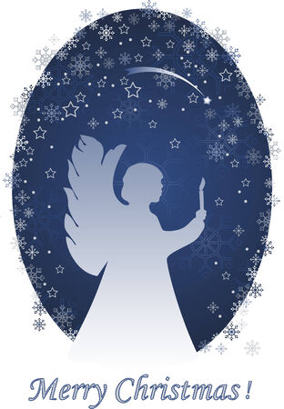 Christmas angel with a candle, greeting card Vector