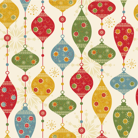 christmas seamless pattern: Seamless pattern with balls and stars