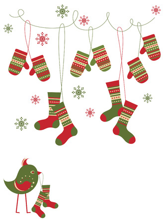 the mittens: Con guantes de estilo popular, calcetines y aves
