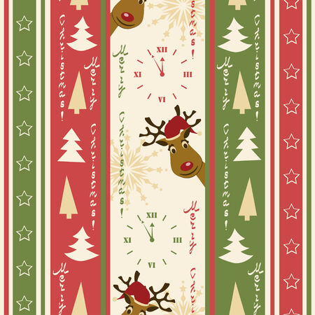 Christmas seamless pattern with deers Vector Illustration