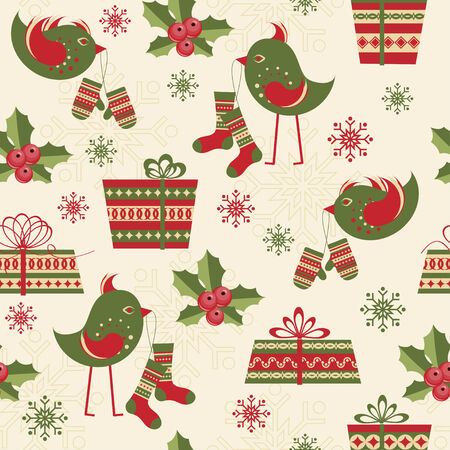 bird pattern: Seamless pattern with birds and gifts Illustration