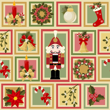 Christmas and New Years seamless pattern Vector