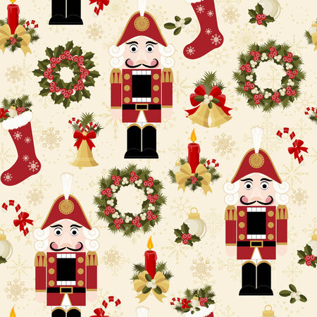 nutcracker: Christmas and New Years seamless pattern Illustration