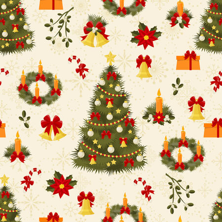 Seamless pattern with decorated trees and gifts