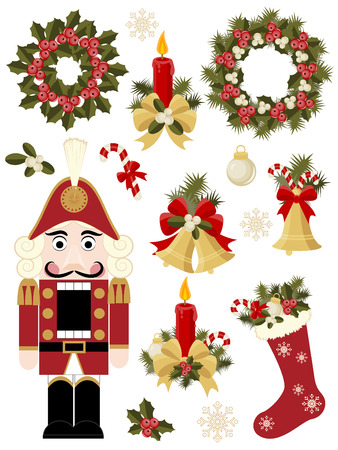 holly leaves: Christmas and New Years icon set Illustration
