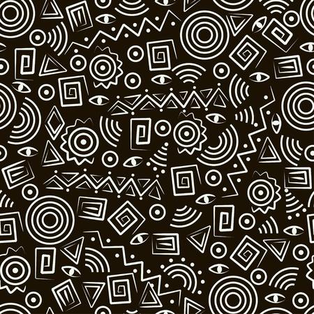 r�p�titif: Art tribal. Patron transparente avec des figures abstraites.
