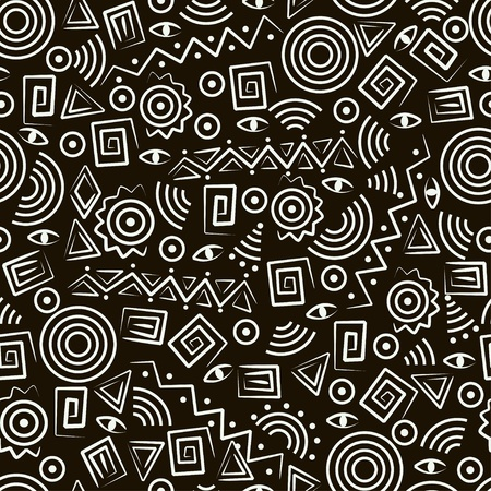 tribe: Tribal art. Seamless pattern with abstract figures. Illustration