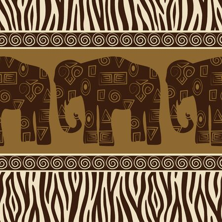 Seamless patterns with elephants and zebra skin. Vector