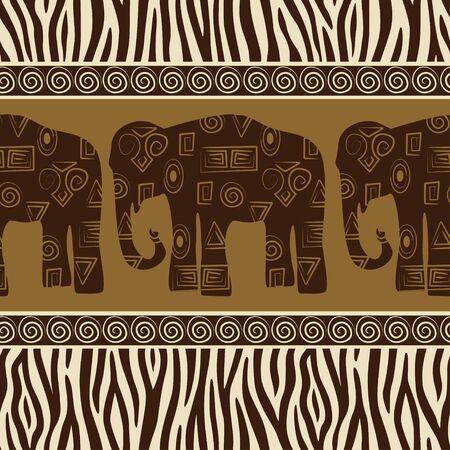 zebra skin: Seamless patterns with elephants and zebra skin.