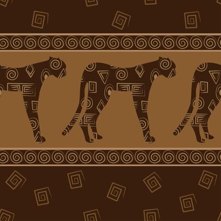 African Style nahtlose Hintergrund mit Leoparden.