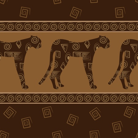 African style seamless background with leopards. Vector