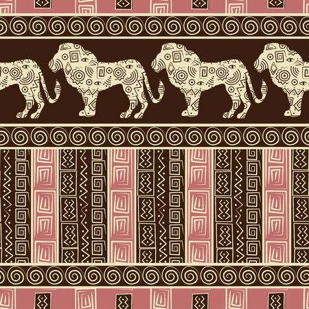 African style seamless background with lions and abstract figures. Vector