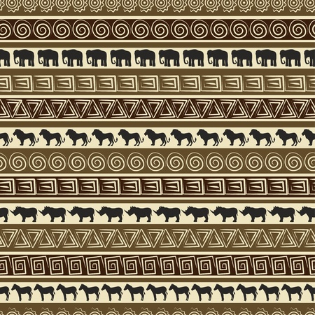 primitive art: African style seamless pattern with wild animals.