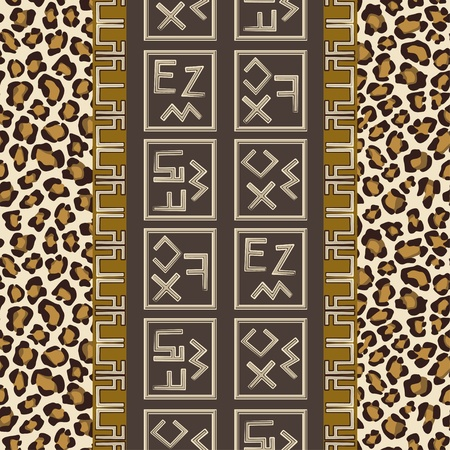 indigenous: Seamless background with abstract signs and leopard skin pattern