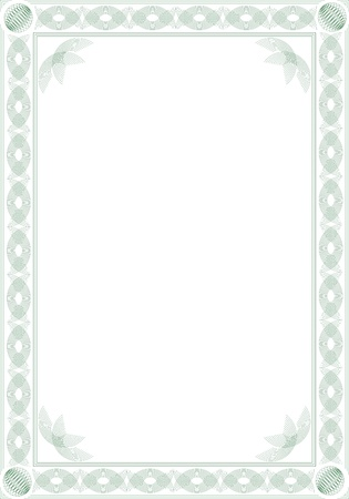 Border for blank diploma or certificate. Guilloche style. Format A4. Stock Vector - 9473002