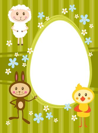 Invitation card with funny sheep rabbit and chicken Vector