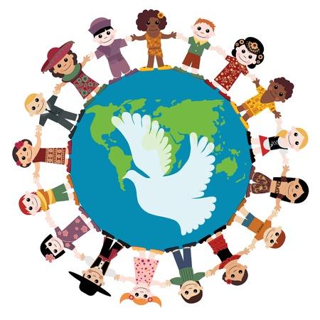 colomba della pace: Bambini felici, tenendosi per mano intorno al globo Vettoriali