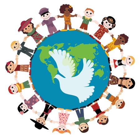paloma de la paz: Niños felices, tomados de la mano del mundo Vectores
