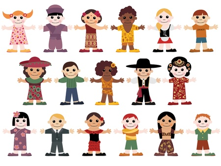 integrer: Ensemble des enfants heureux Illustration