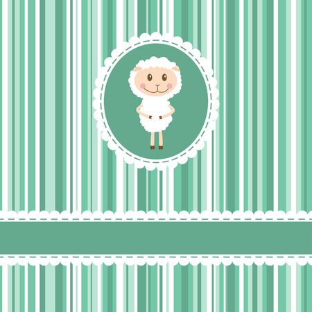 Invitation card with funny sheep on stripe background Vector