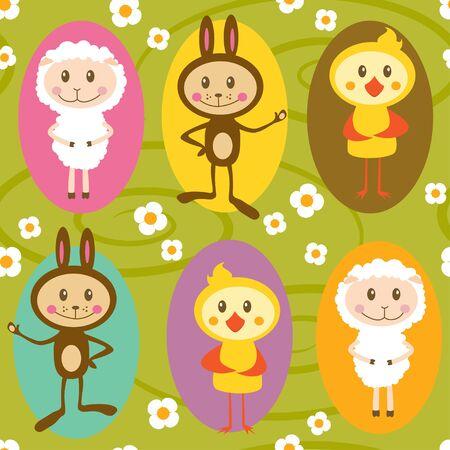 ovejita bebe: Patr�n transparente con conejos, ovejas y pollos