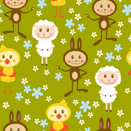 bleating: Seamless pattern with sheeps, rabbits and chickens Illustration