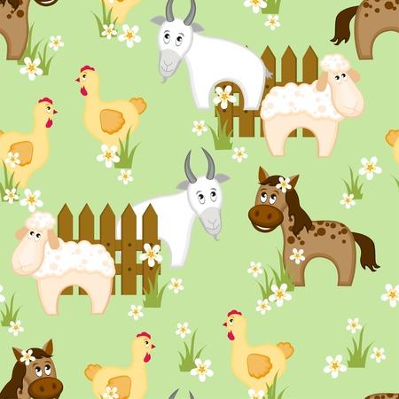 Patrón transparente de estilo de pueblo con cabras, caballos y pollos Ilustración de vector