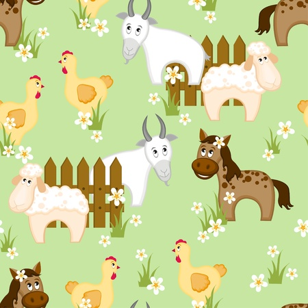 he goat: Village style seamless pattern with goats, horses and chickens Illustration