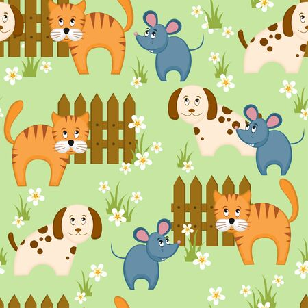 Village style seamless background with dog, cat and mouse Vector