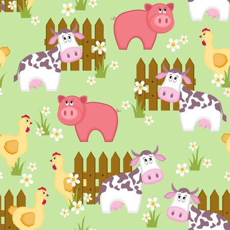 Country style seamless pattern with goat, pig and chicken Vector